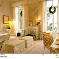 Cream Colored Sofa Pillows Barcelona Curved Rattan Corner Set Cozy Parlor - Living Room Reception Of Visitors Royalty ...