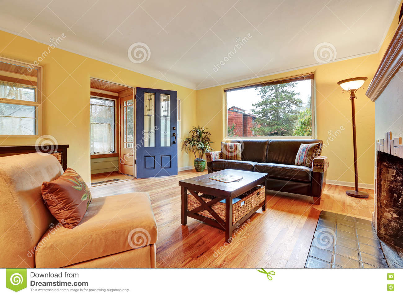 cozy living room colors gray and white ideas interior with warm yellow walls stock photo image