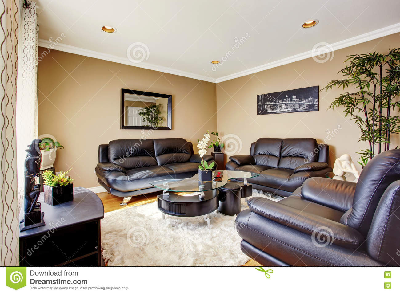 contemporary living room with black leather sofa images of rooms log burners cozy and luxury set modern coffee table