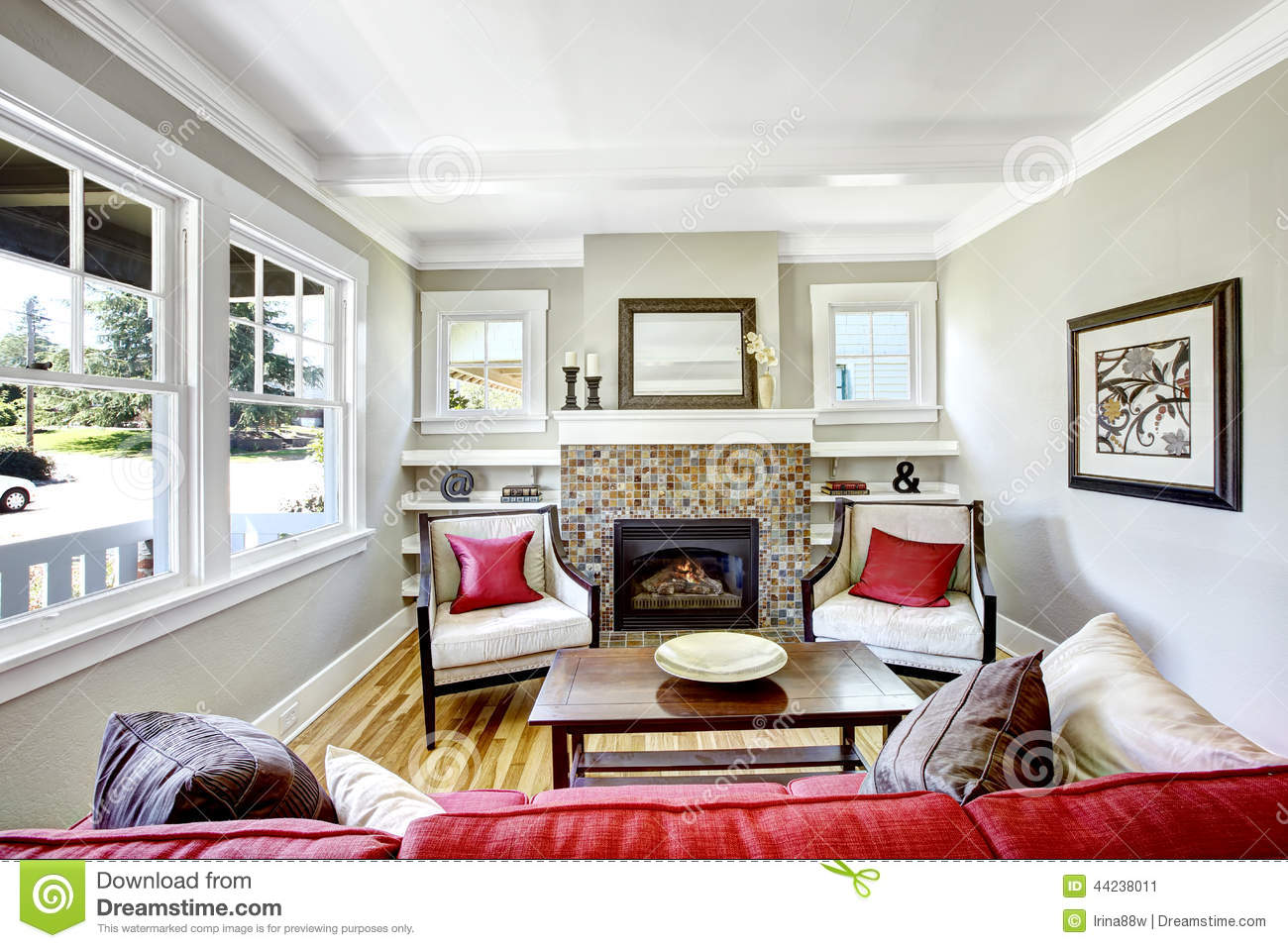 red sofa design living room and cream ideas cozy small with fireplace. stock photo - image ...
