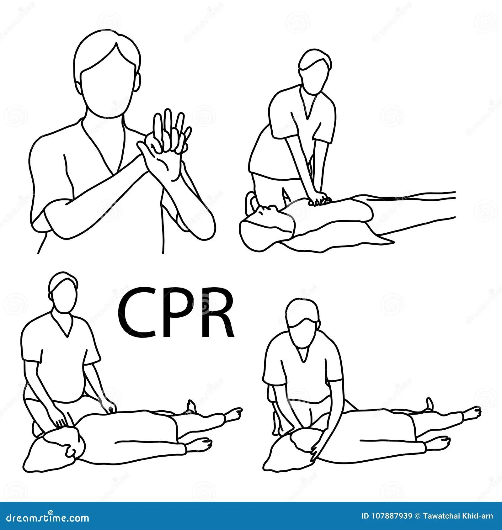 Vector Illustration Of A CPR Cardiopulmonary Resuscitation