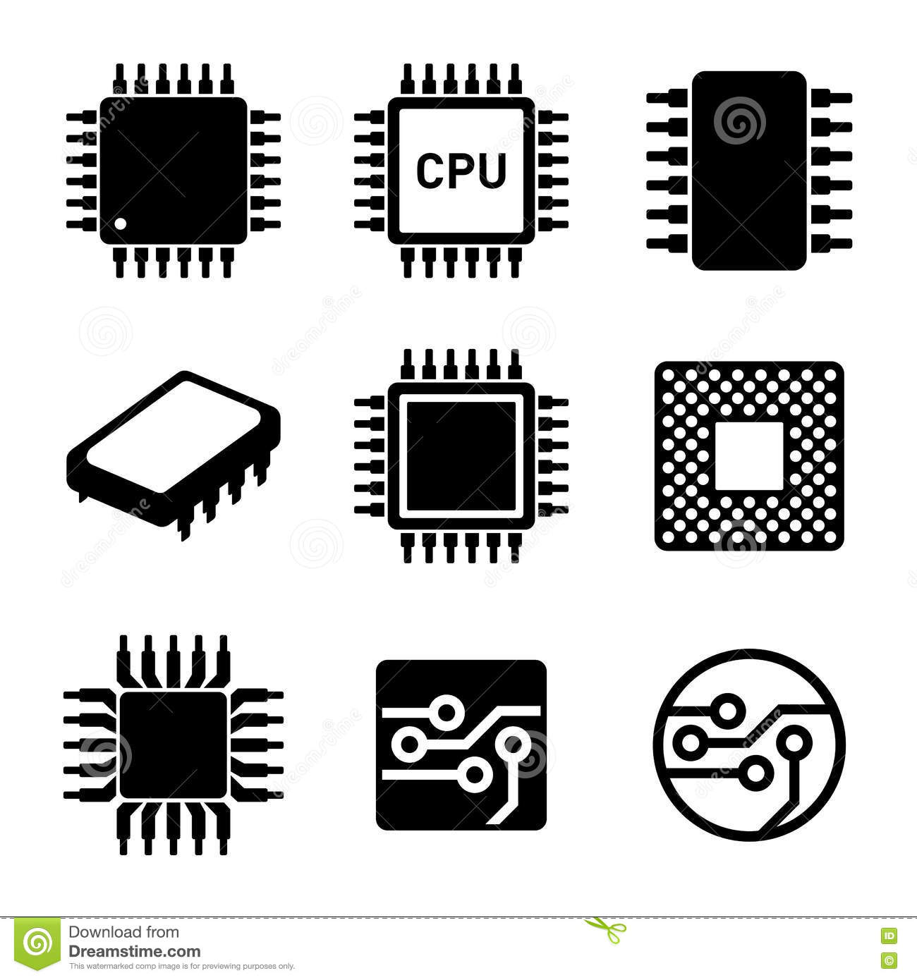 CPU Microprocessor And Chips Icons Set. Vector Vector