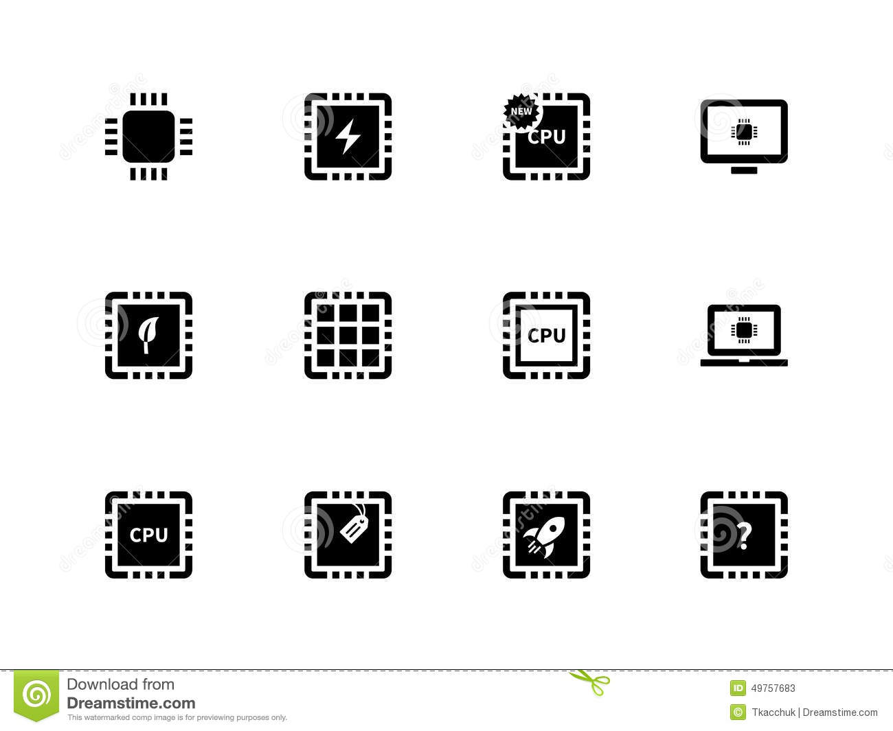 Cpu And Microprocessor Icons On White Background Stock