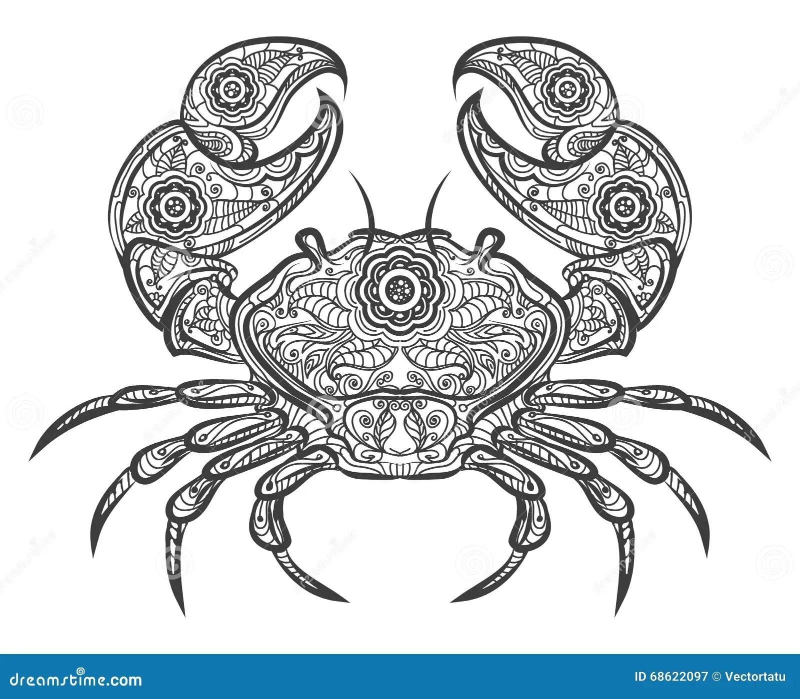 Crab Zentangle Icon Vector Hand Drawn Crab Stock Vector
