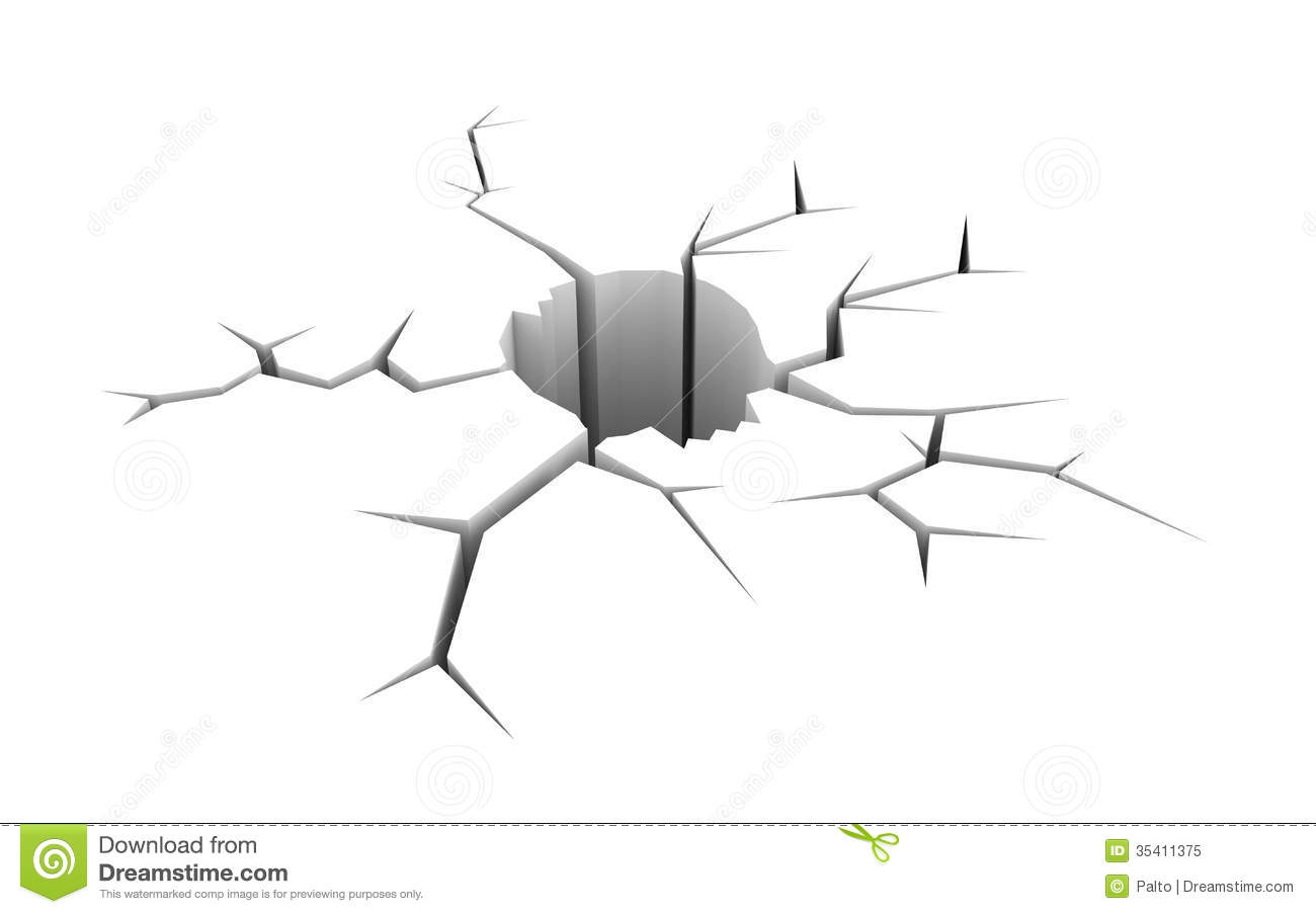 Cracked Ground In The Form Of Skull Stock Illustration