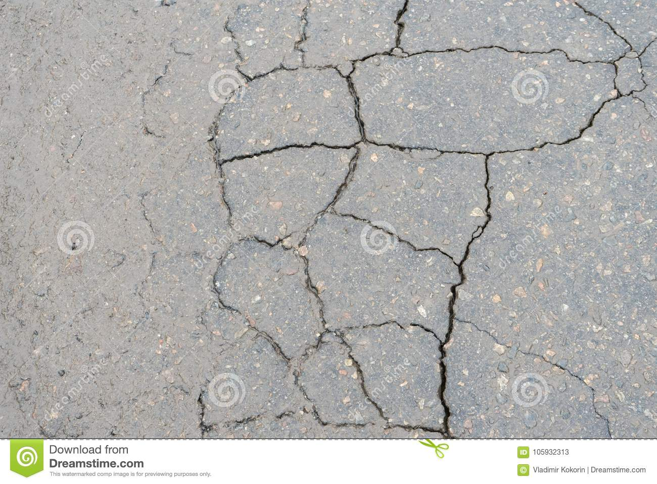 Cracks In The Pavement Poor Road Surfaces Stock Image