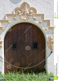 Crafty Wooden Door With Small Windows Royalty Free Stock ...