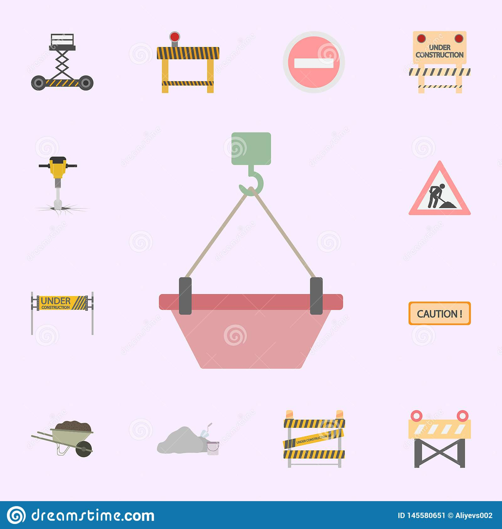 hight resolution of crane hook with concrete colored icon building materials icons universal set for web and mobile