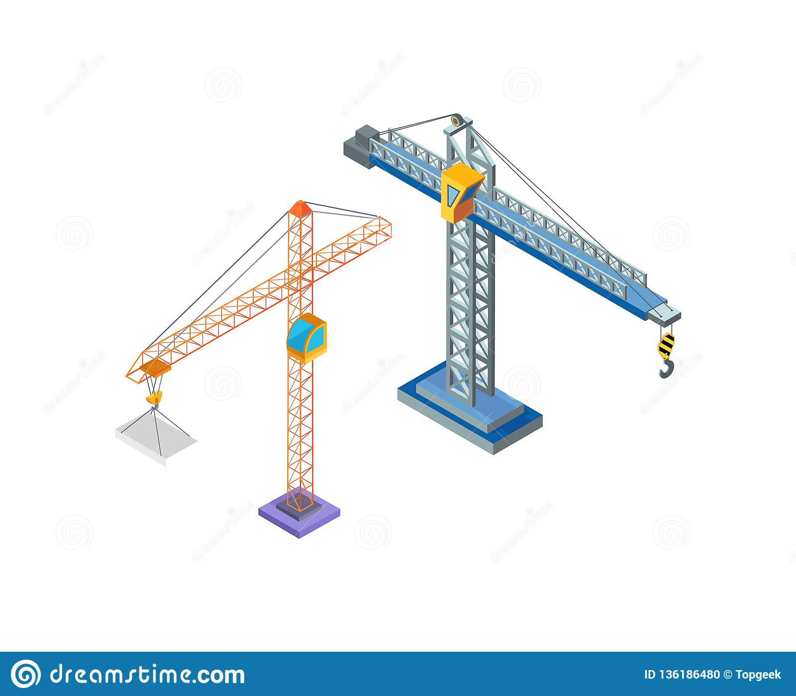 hight resolution of crane industrial machine steel tower with hook for lifting blocks icons vector building constructions hoist working machinery lift moving capacity