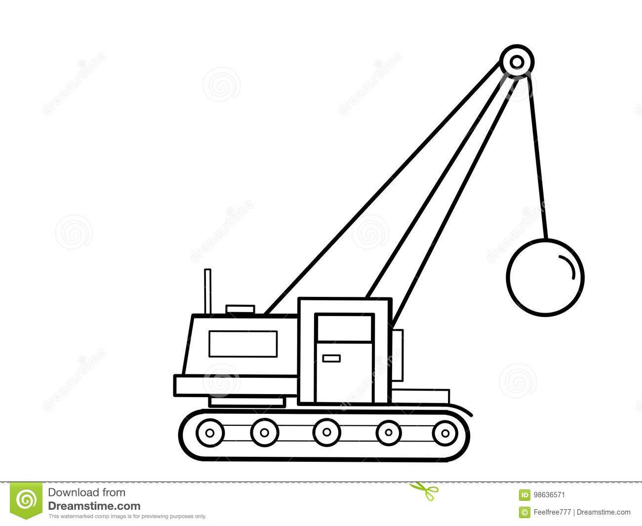 Crane Tractor Kids Educational Coloring Pages Stock