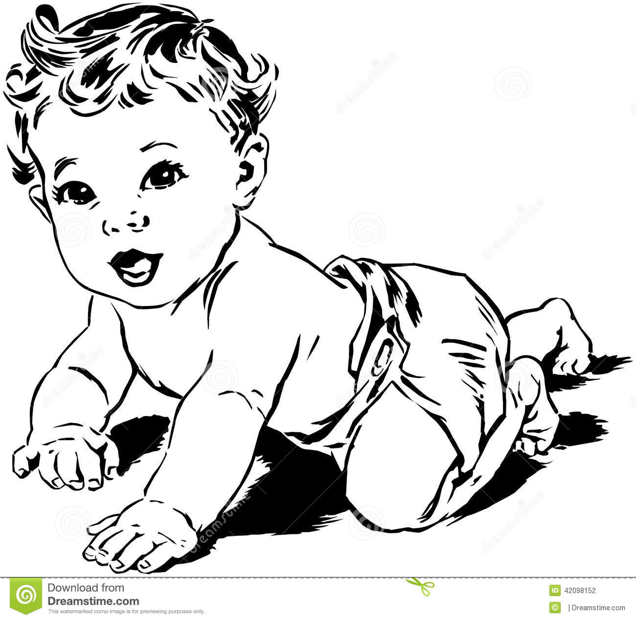 Crawling Baby Stock Vector Illustration Of Boys Forties