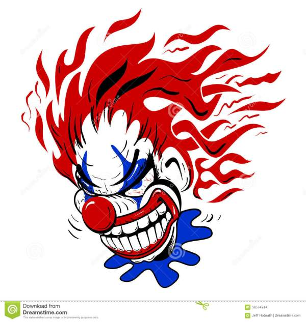 crazy scary clown cartoon illustration