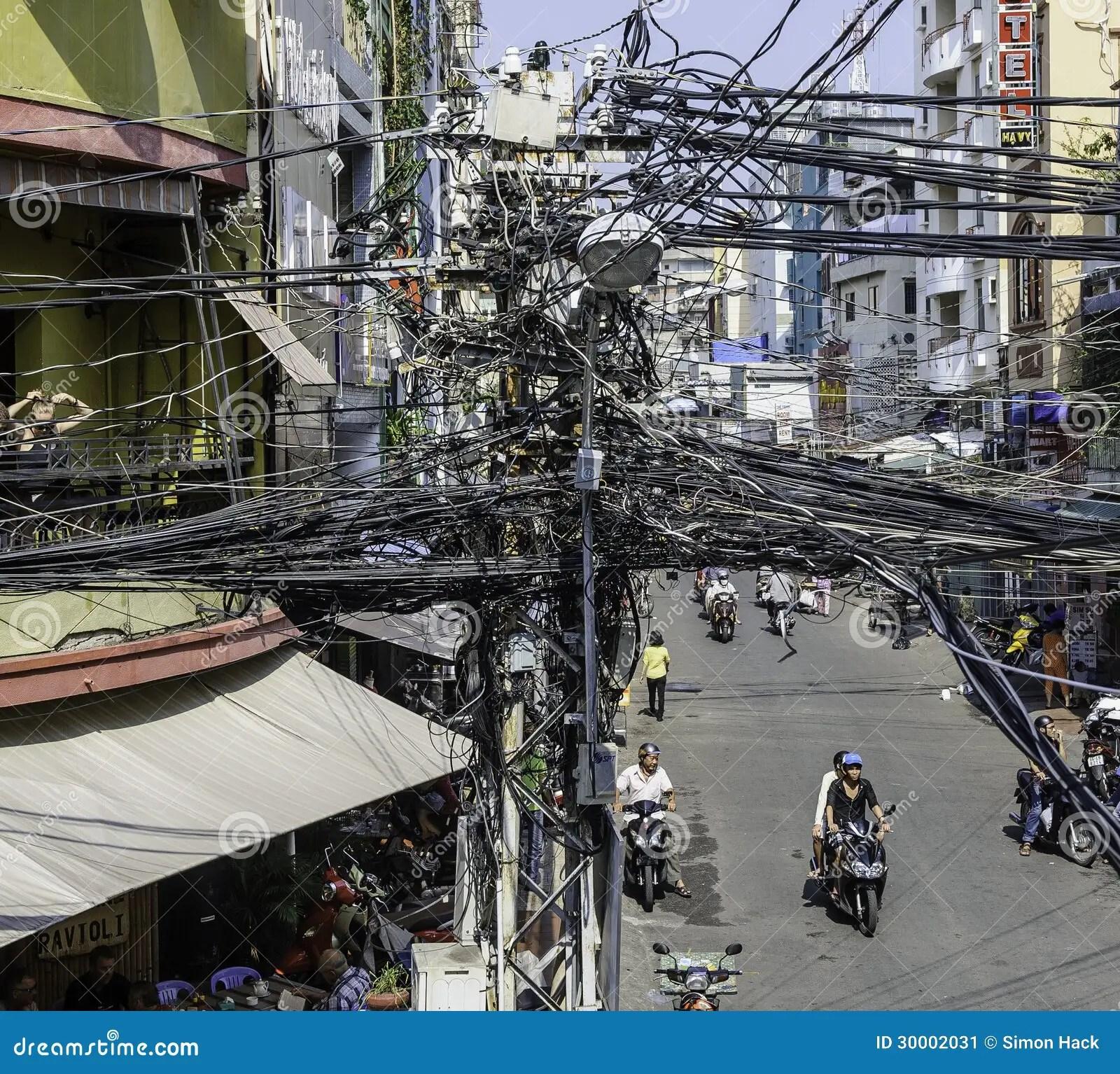hight resolution of crazy street wiring in saigon ho chi minh city vietnam