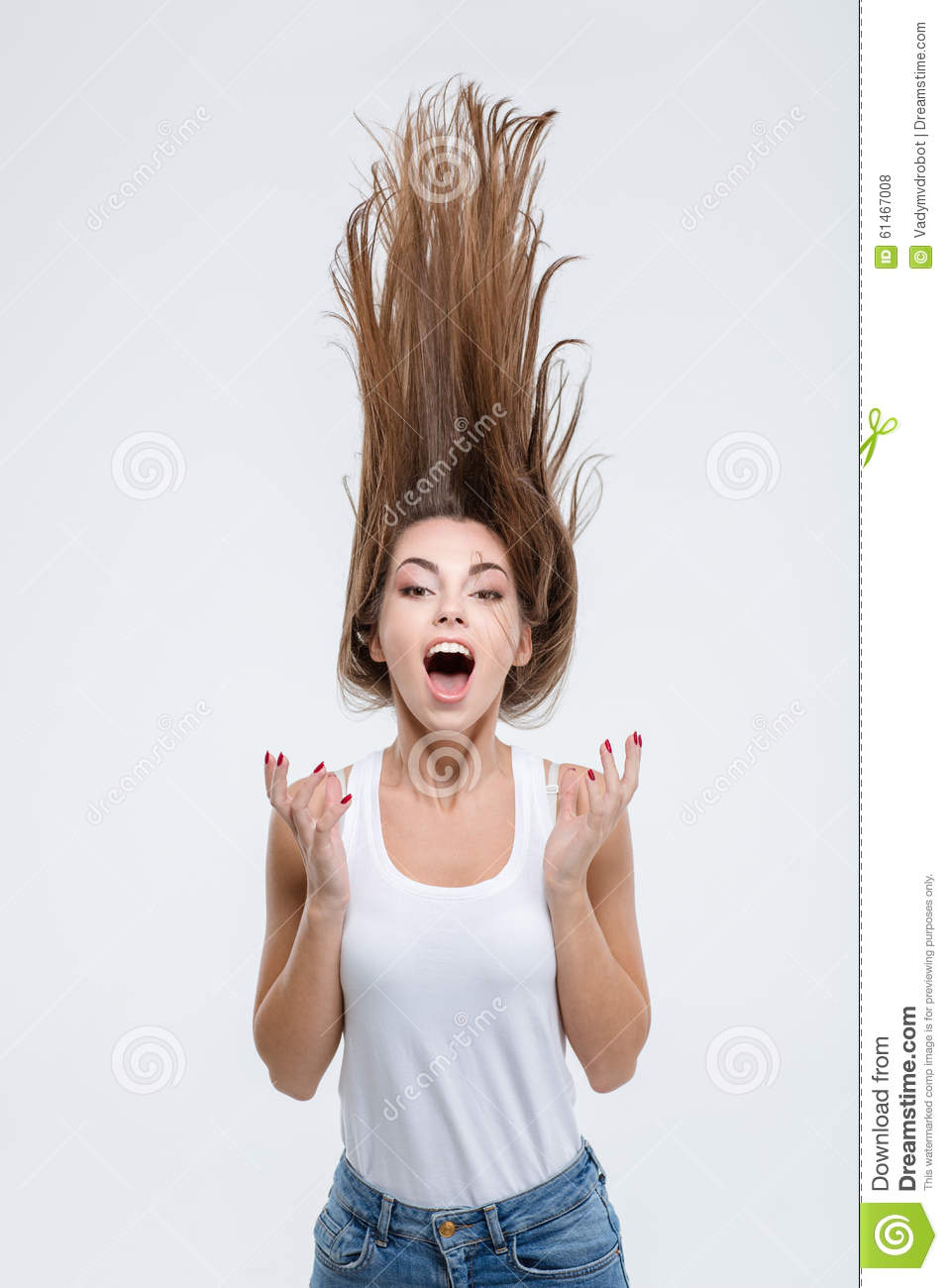 Crazy Woman With Hair Up Into Air Stock Photo Image