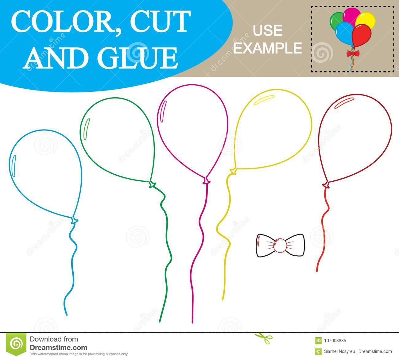Create The Image Of Balloons Worksheet Color Cut And