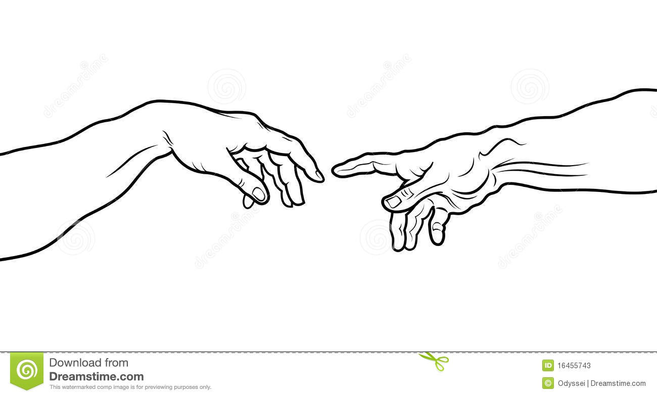 The Creation Of Adam. Fragment (Outline Vesion) Stock