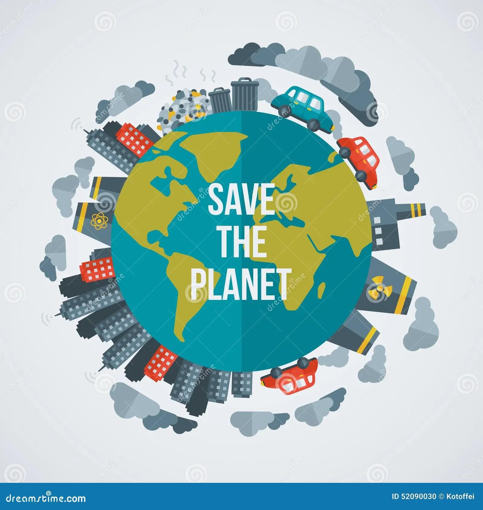 Creative Concept Save The Planet Stock Vector