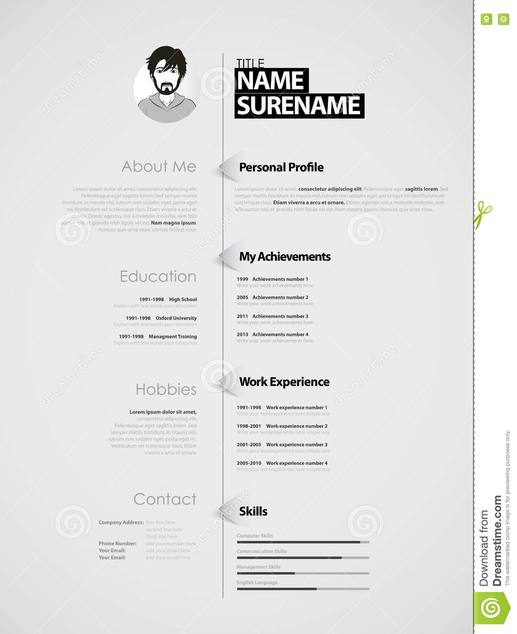 Creative Cv Template With Paper Stripes Stock Vector
