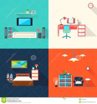 Creative Furniture Icons Set In Flat Design Stock Vector ...