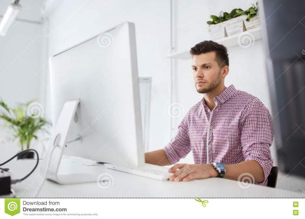 Creative Man Student With Computer Office Stock