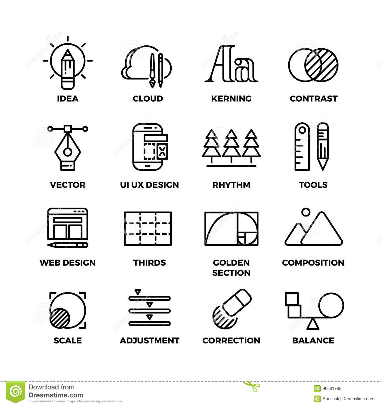 Creative Process And Design Sketch Tools Outline Vector Icons Stock Vector