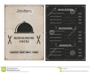Creative Restaurant Menu Card Design With Front And Back Page Vi Stock Illustration Illustration of lunch hotel: 113292768
