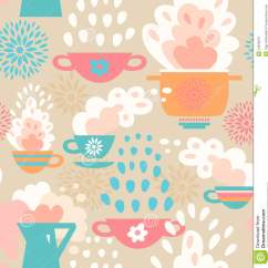 Kitchen Wallpaper Patterns Small Rectangular Table Creative Seamless Pattern Background With Cups