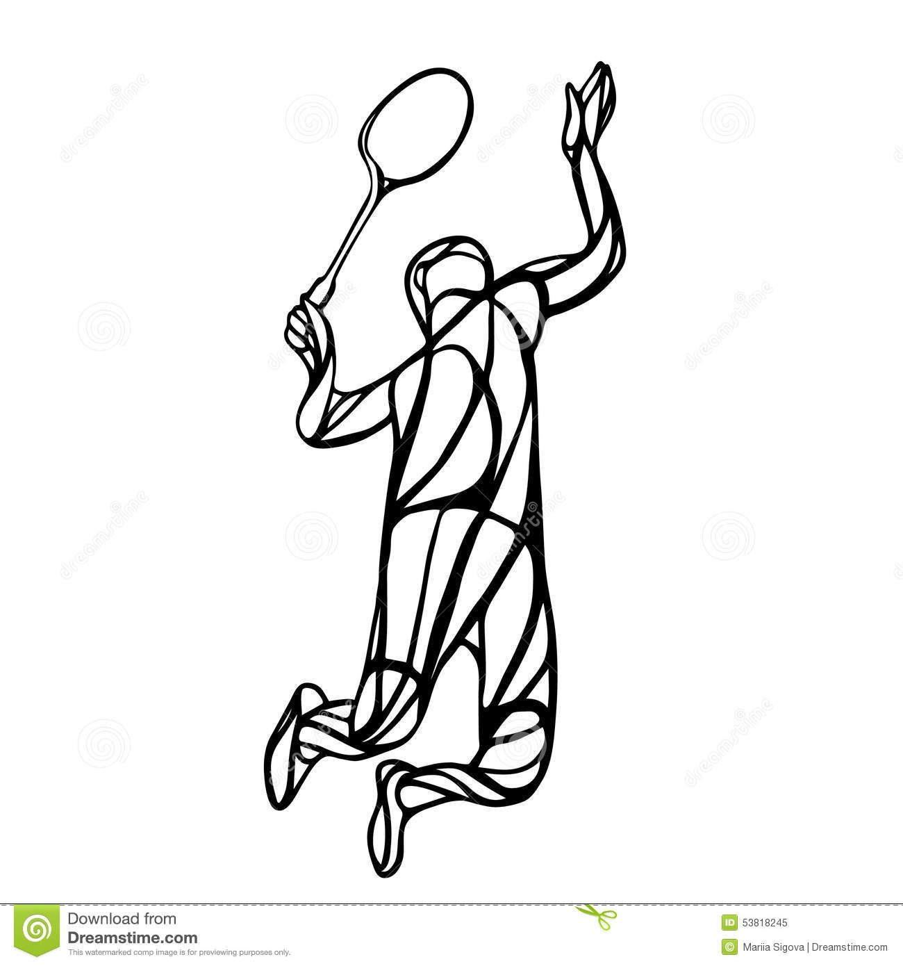Creative Silhouette Of Abstract Badminton Player Stock