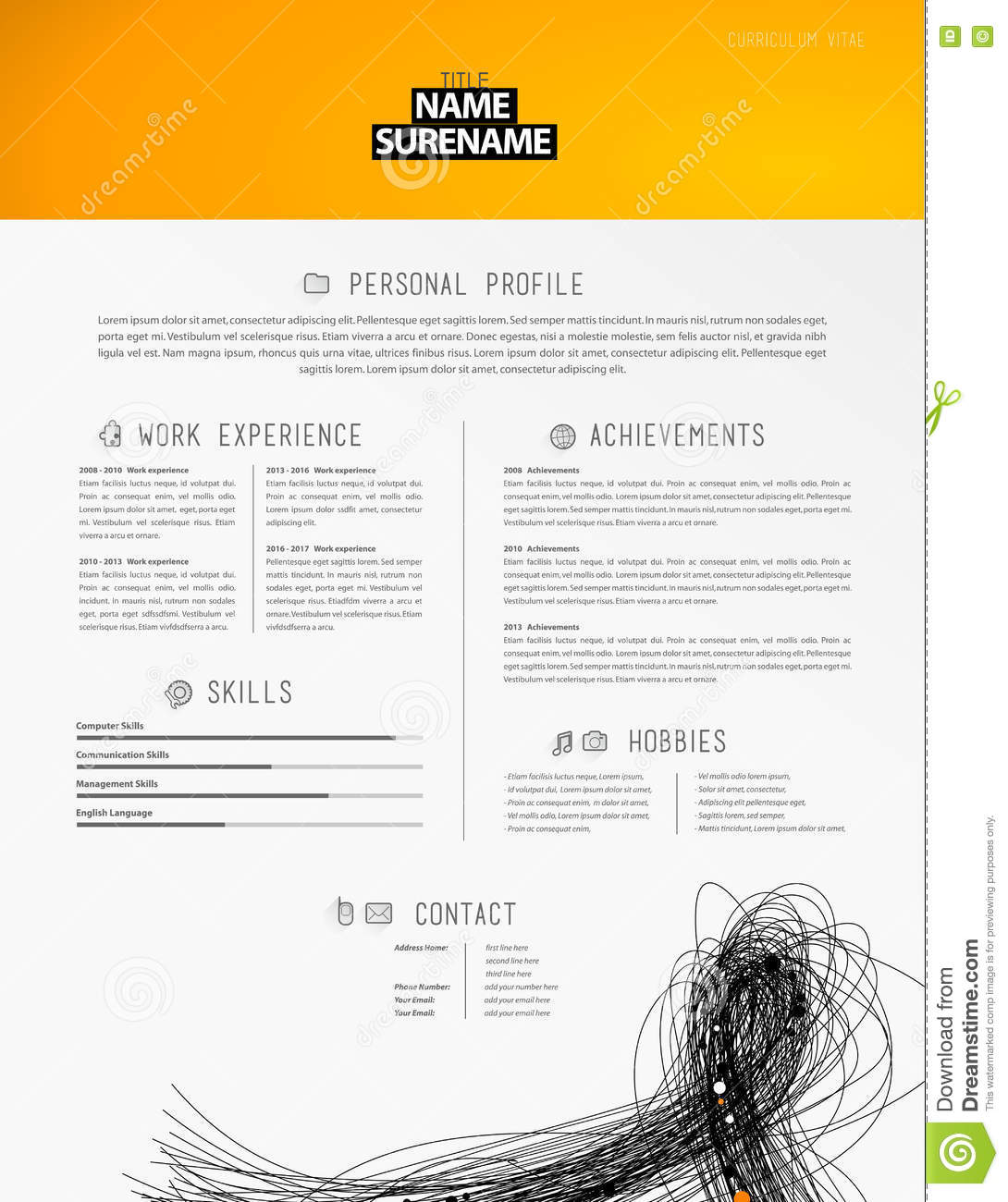 Creative Simple Cv Template With Black Lines In Footer. Stock Vector ...