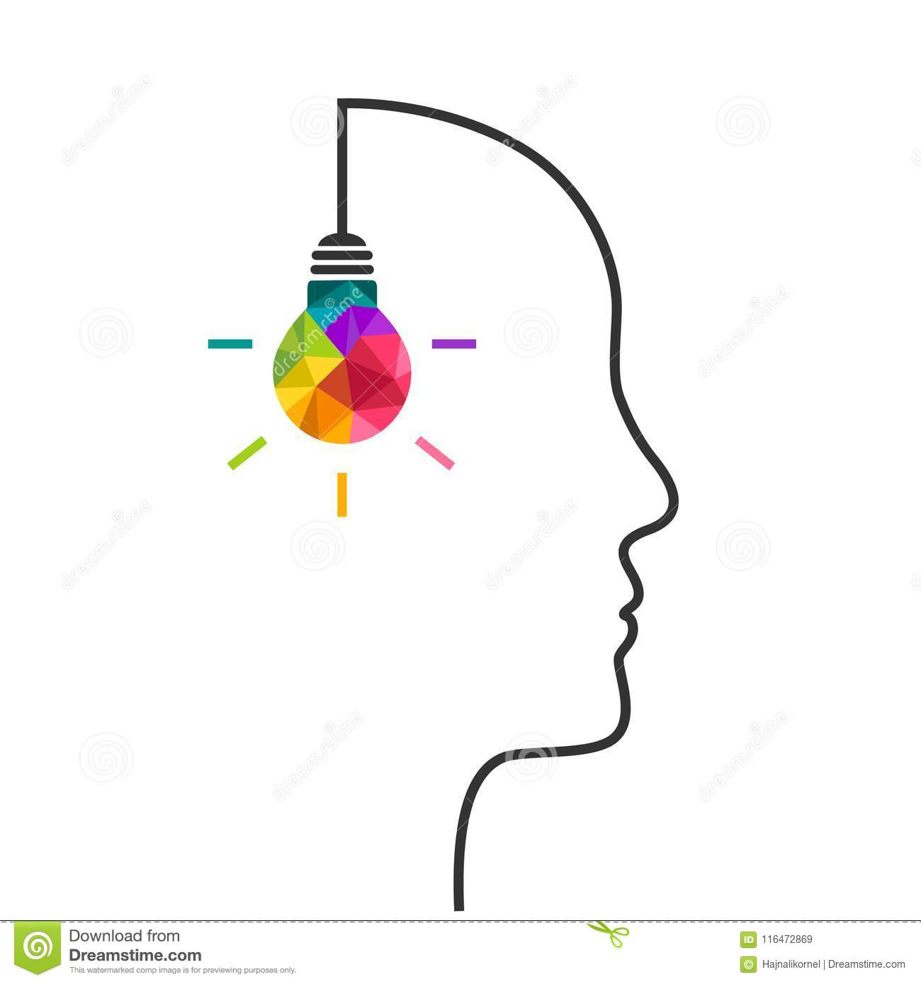 Creative Thinking Concept With Lightbulb And Head Stock