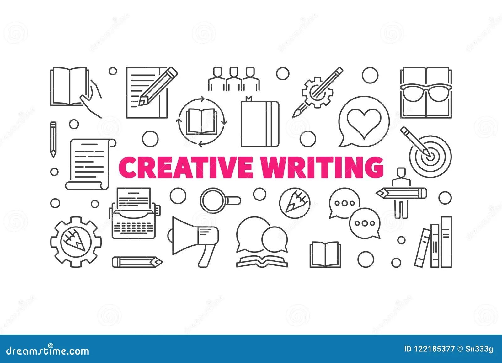 Creative Writing Vector Horizontal Linear Illustration