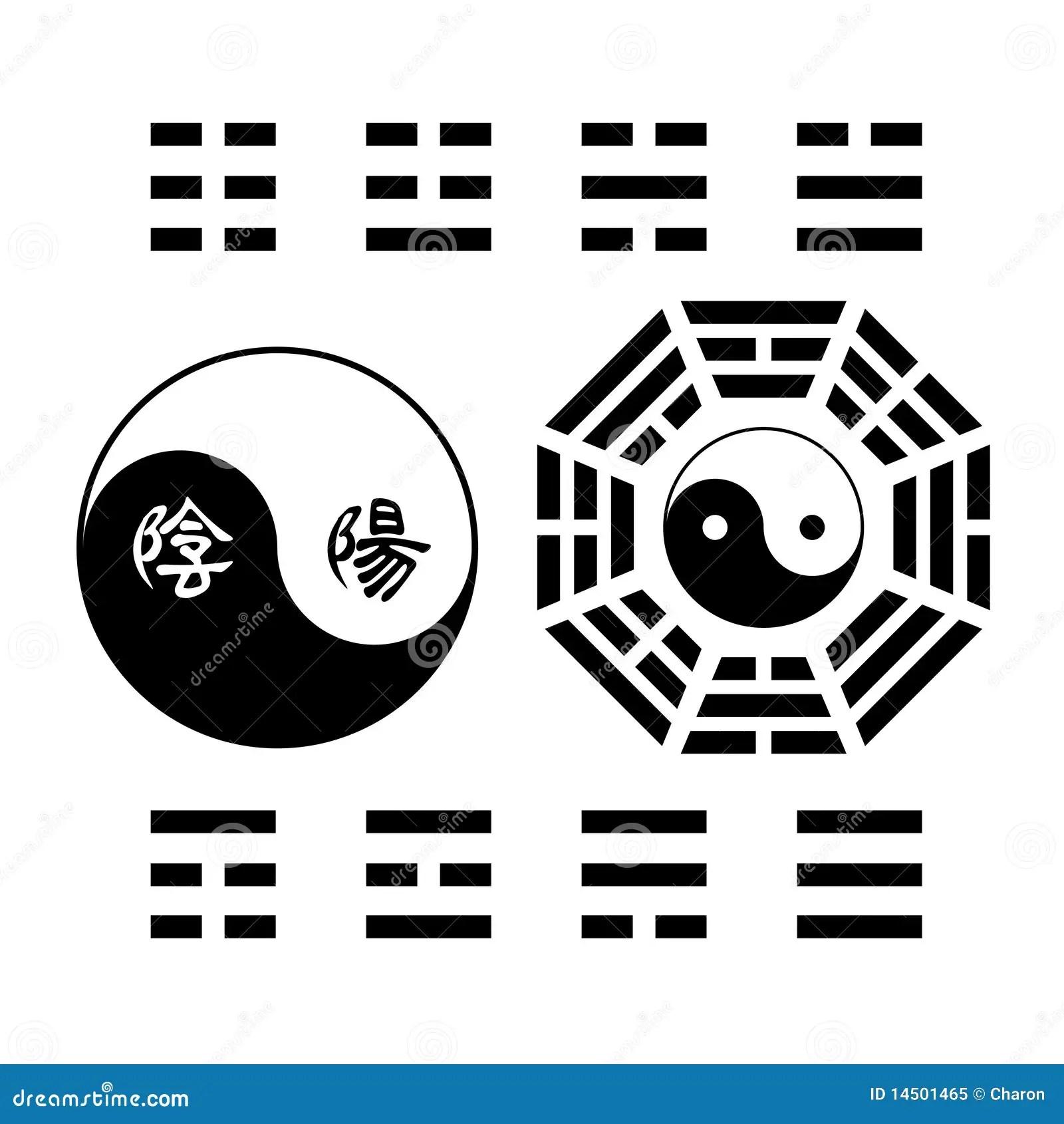 Creative Yin Yang Symbol Trigram Sign Stock Vector