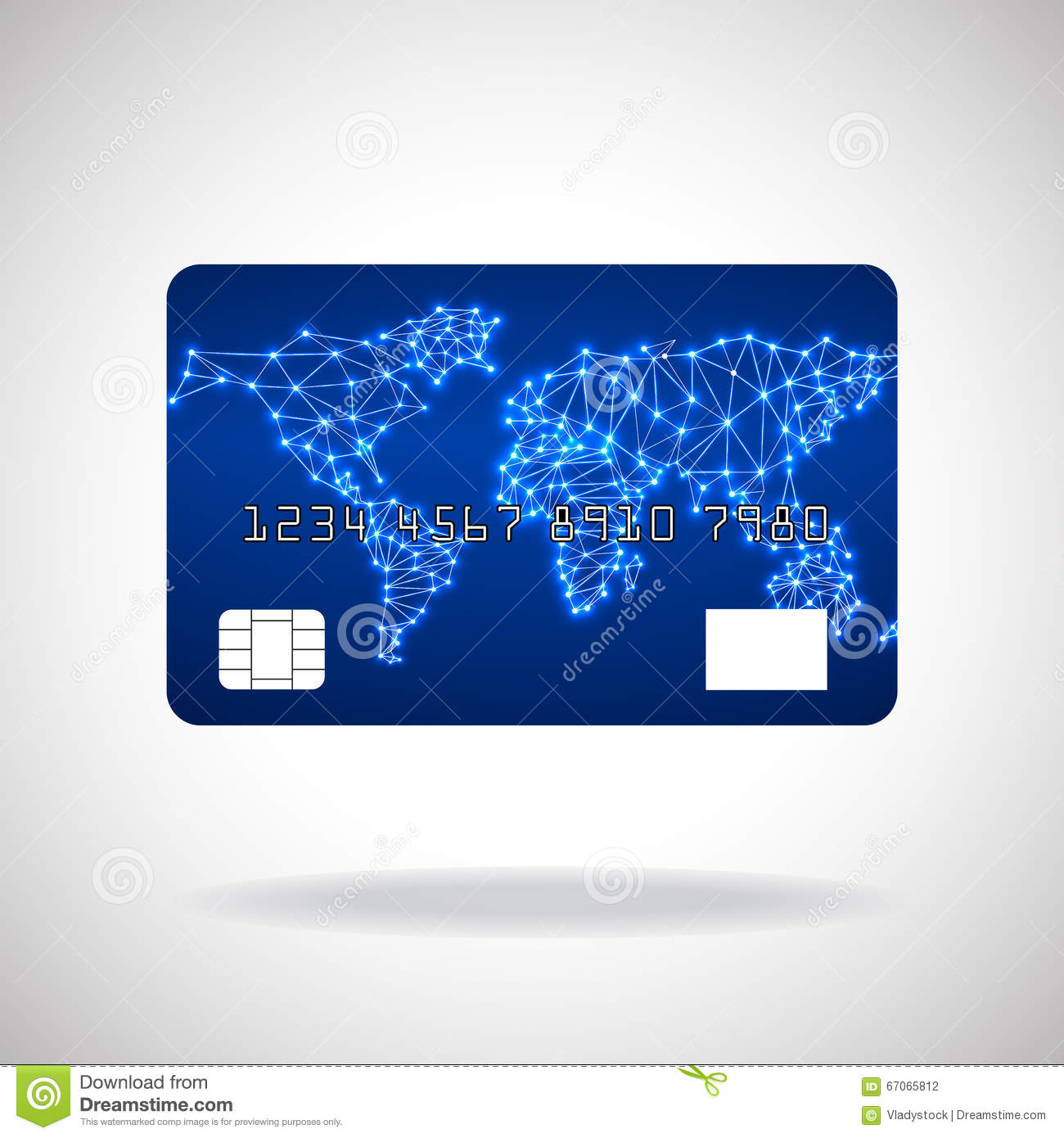 hight resolution of illustration credit card icon with world map