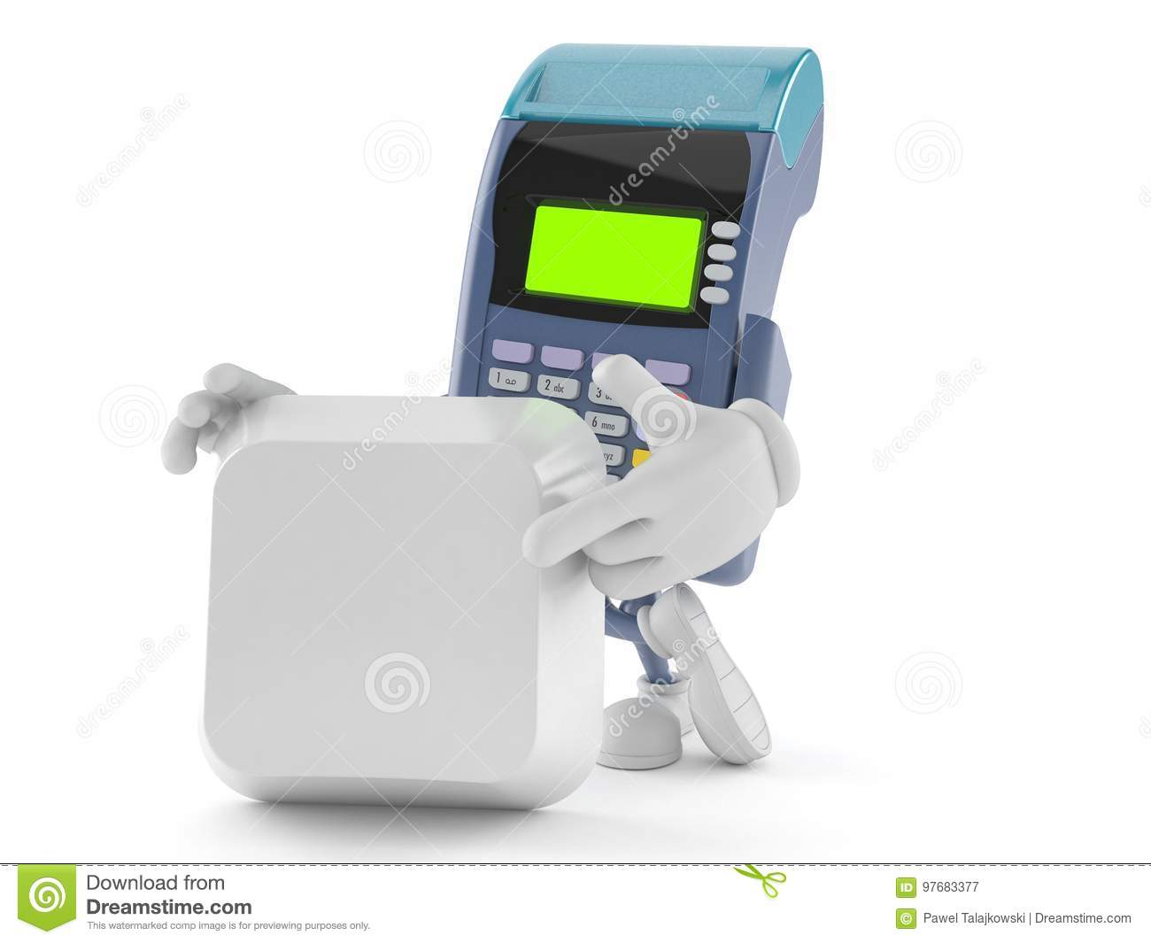 Credit Card Reader Character With Blank Keyboard Key Stock