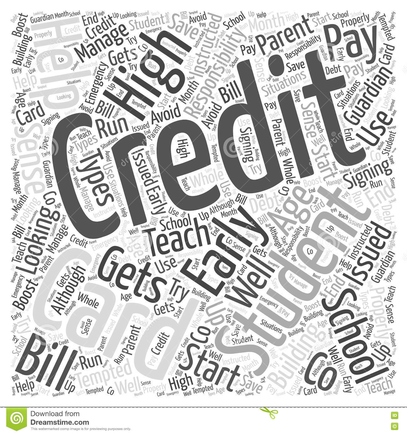 Credit Cards For High School Students Word Cloud Concept