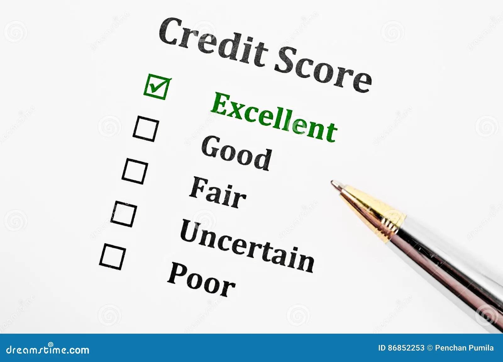 Credit score form. stock image. Image of good, blank