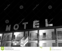Creepy Motel Sign Black And White Stock - 722747