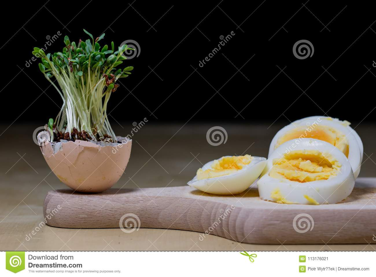 Cress Sprouts On The Kitchen Table Eggs And Herbs In The