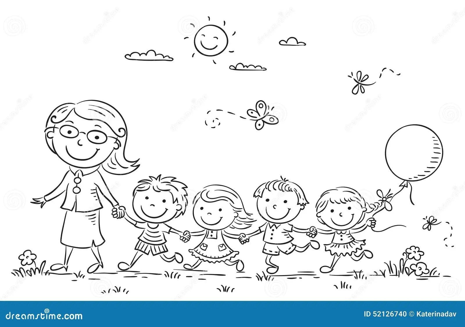 Crianças Dos Desenhos Animados E Seu Professor Outdoors