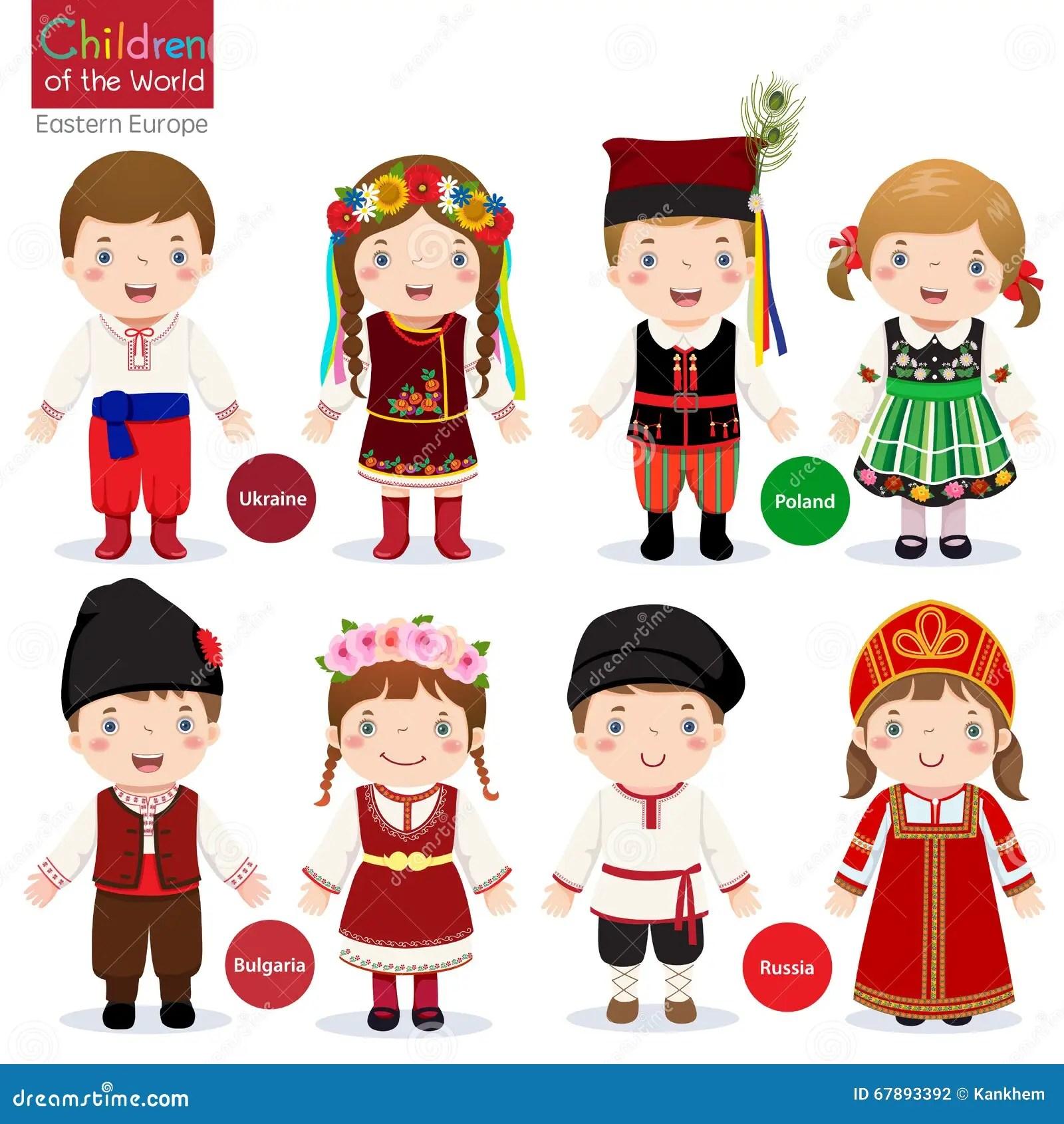 Criancas Em Trajes Tradicionais Diferentes Ilustracao Do