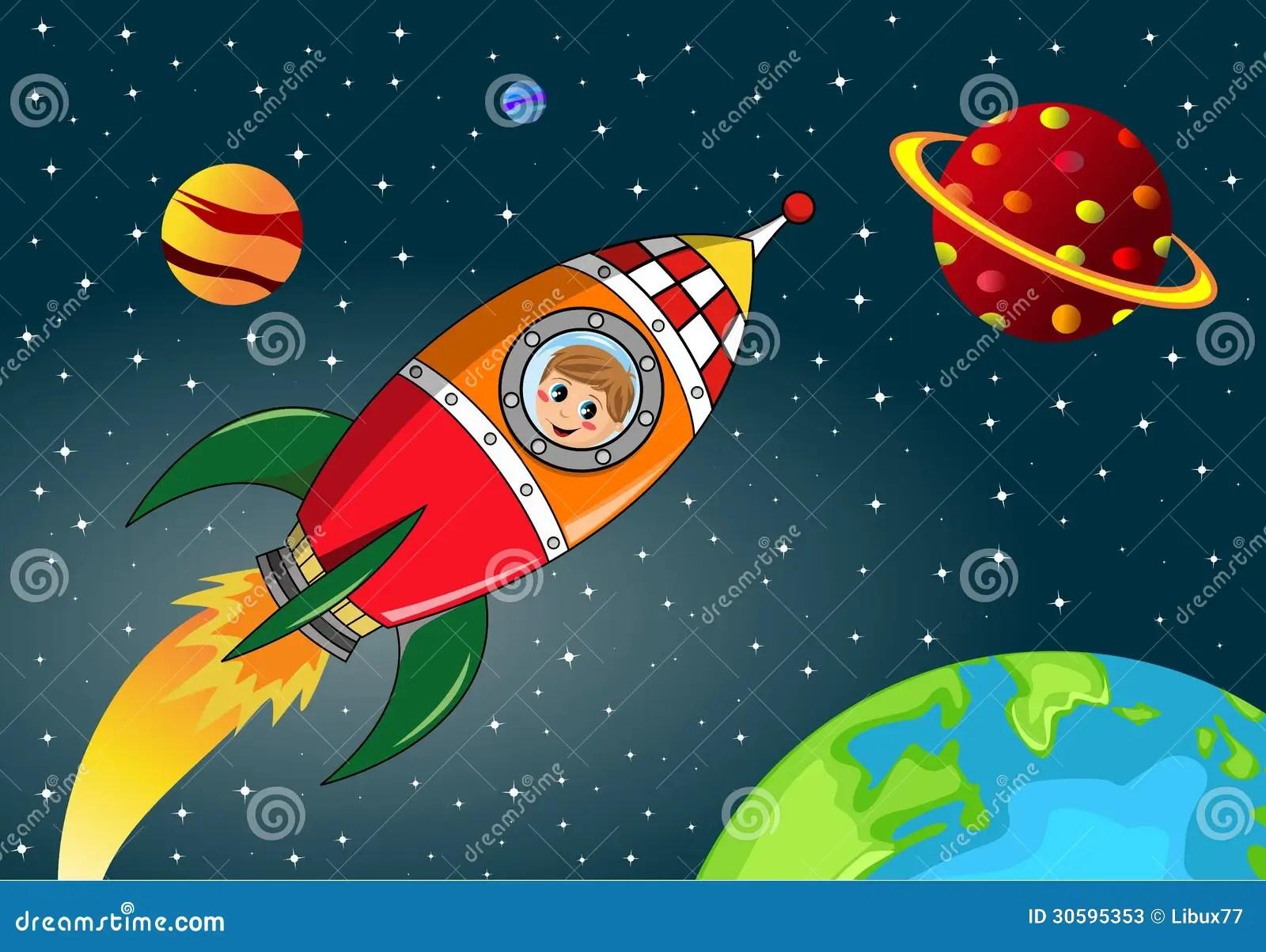 Crianca Feliz Que Explora No Espaco Rocket Fotos De Stock