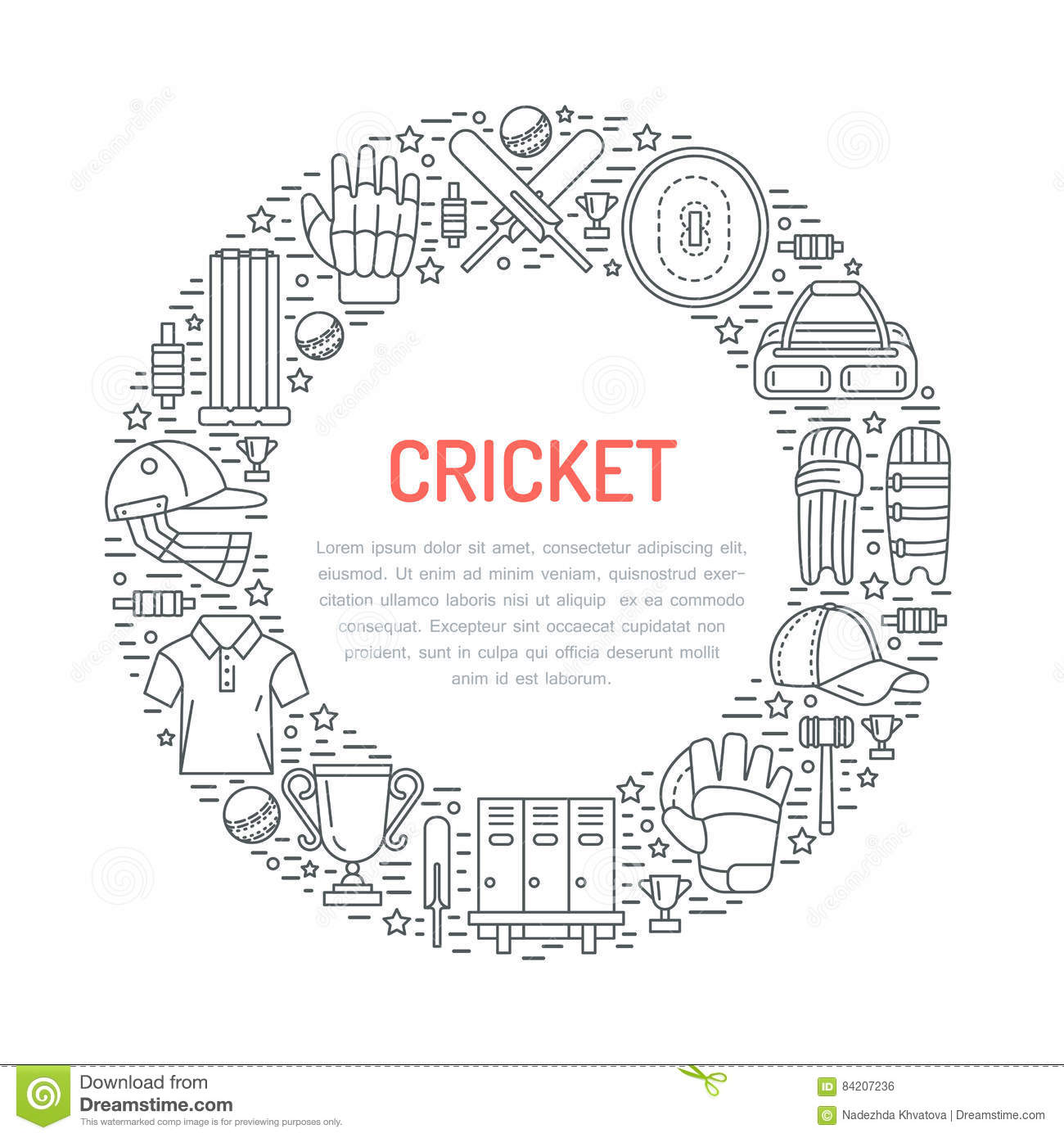 Cricket Equipment Bat Ball And Wicket Vector Illustration