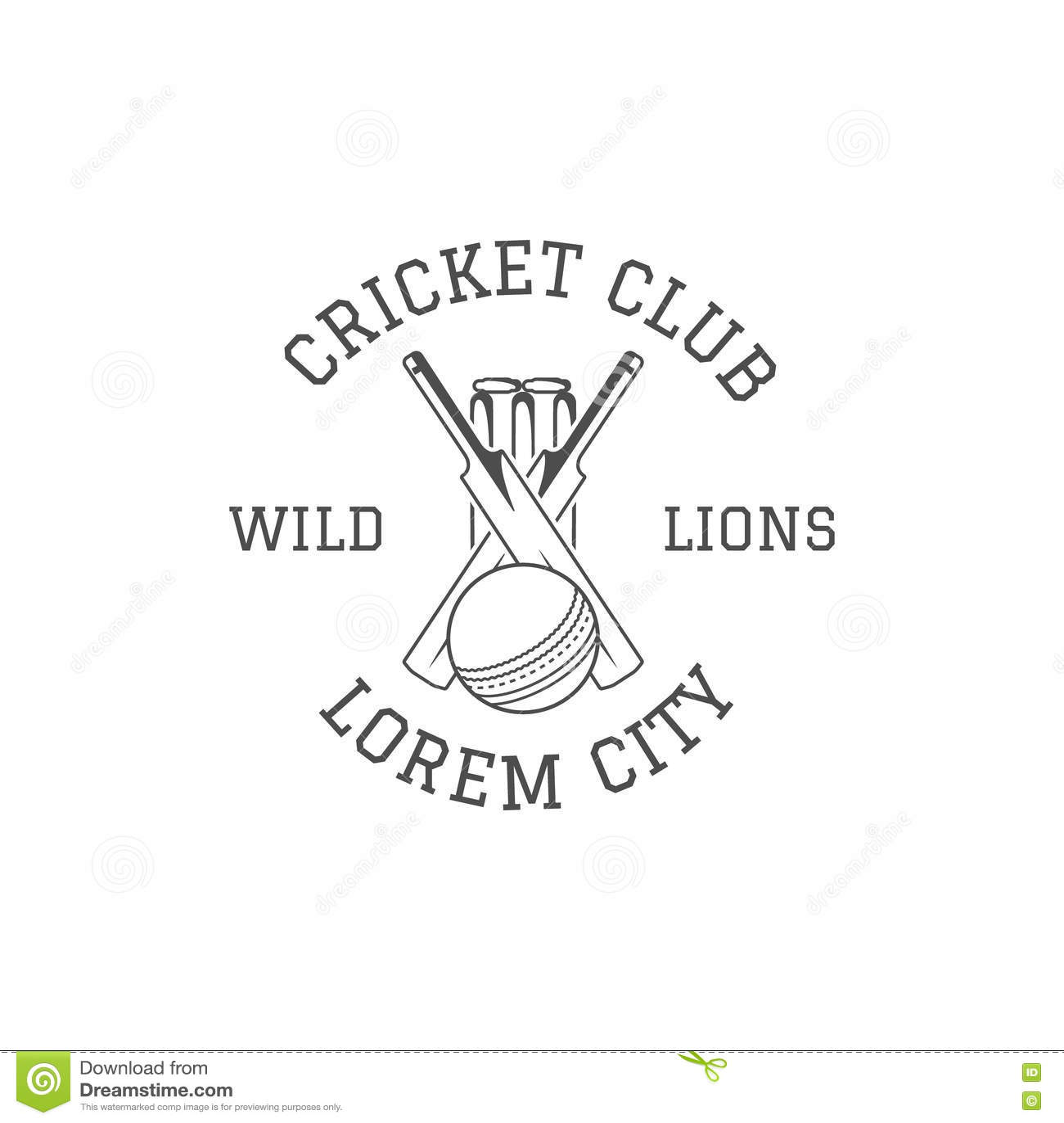 Cricket Club Emblem And Design Elements. Stock Vector
