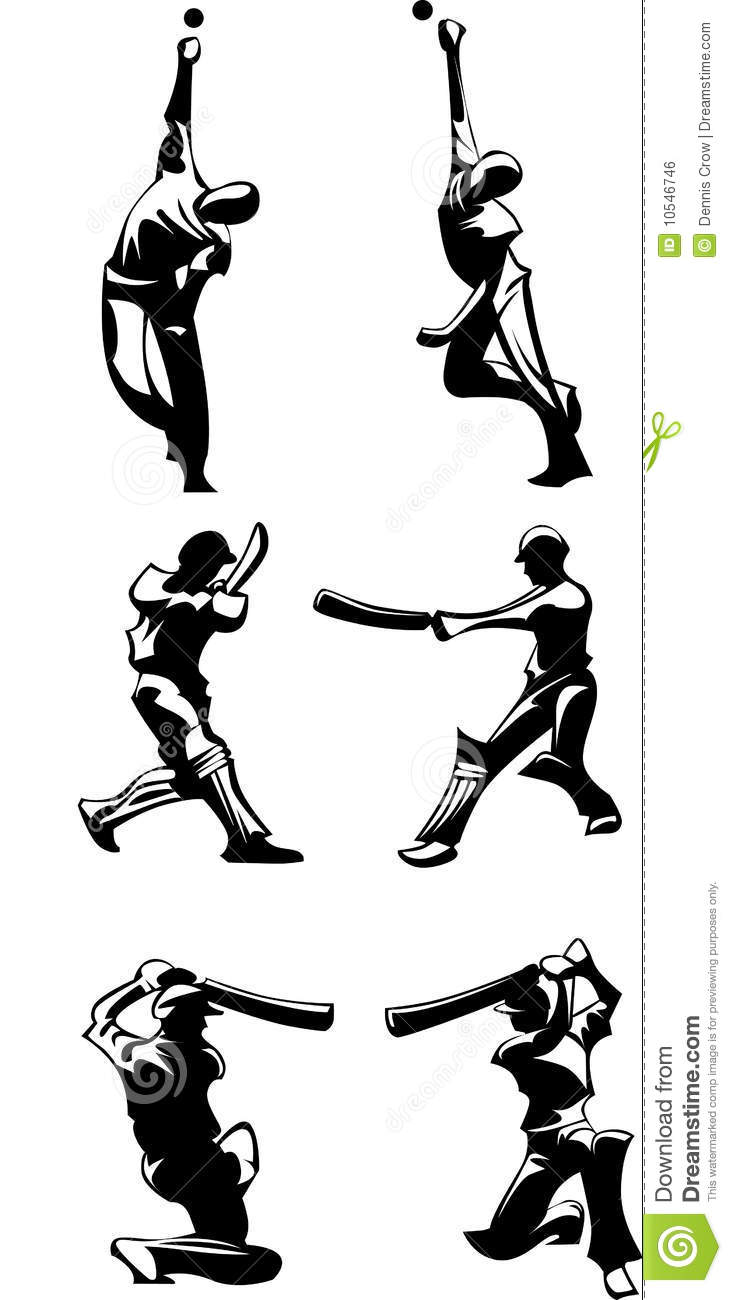 Cricket Players Silhouettes Vector Stock Vector
