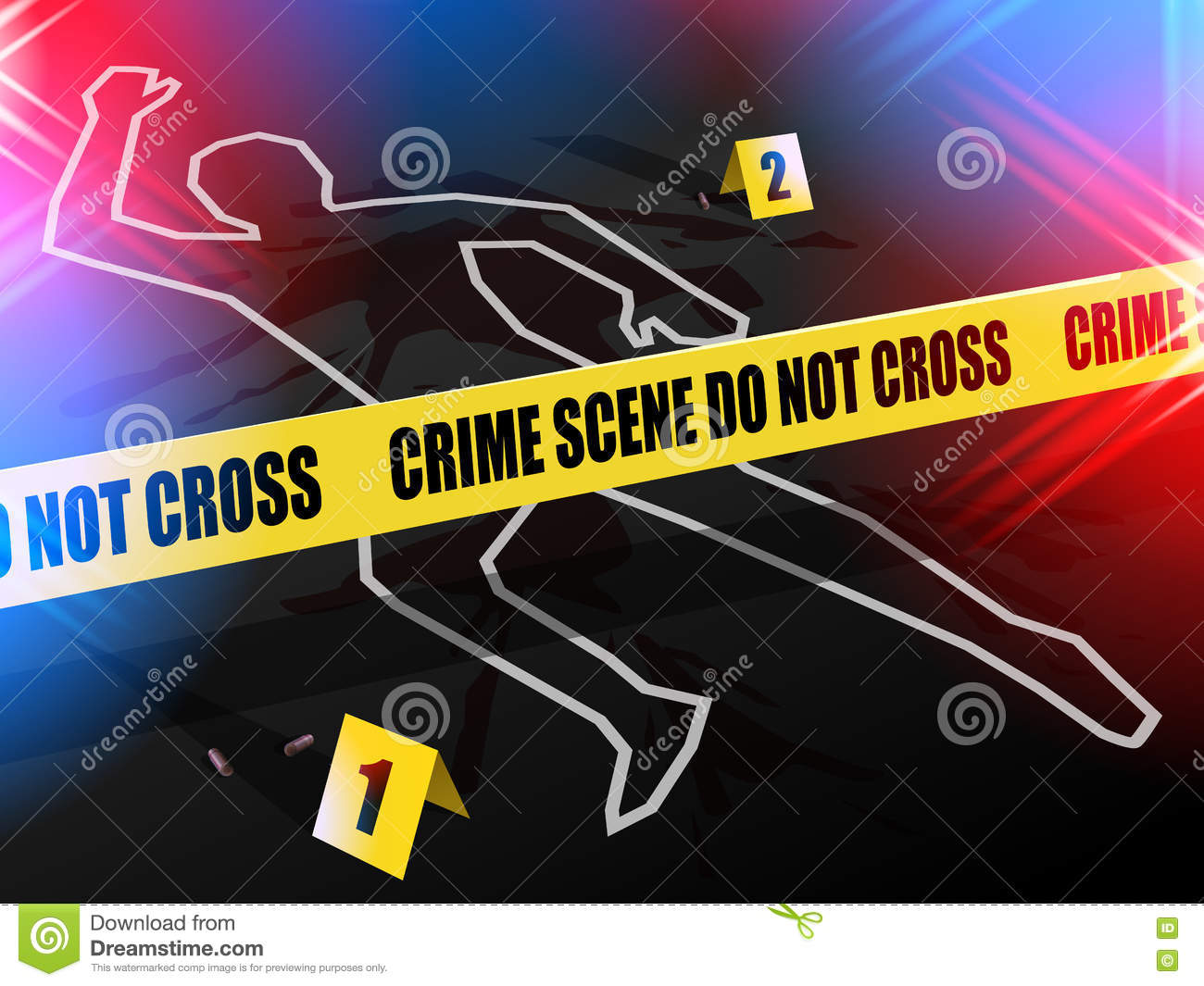 Crime Scene  Do Not Cross, With Chalk Outline Of Gun