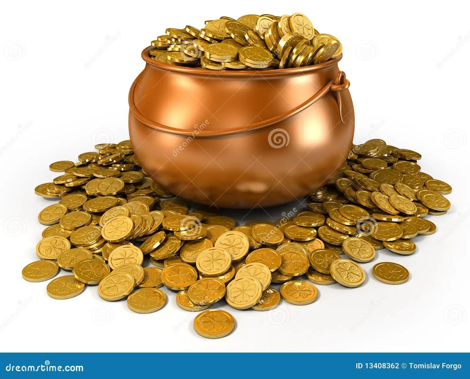 Crisol Por Completo De Monedas De Oro Stock de ilustracin