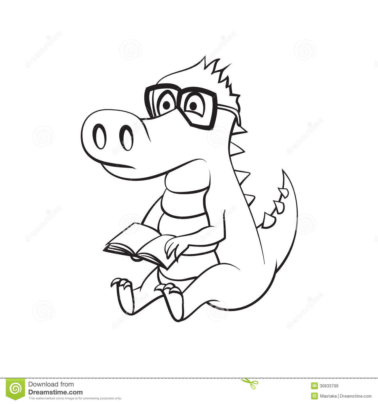 Crocodile With A Book Royalty Free Stock Images