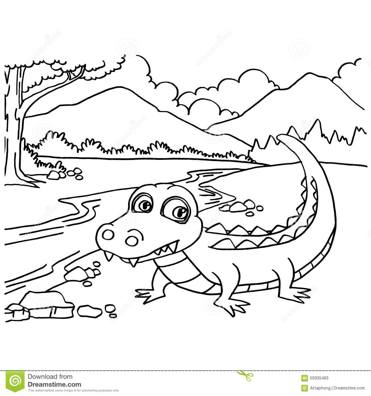 Crocodile Showing Teeth Coloring Pages