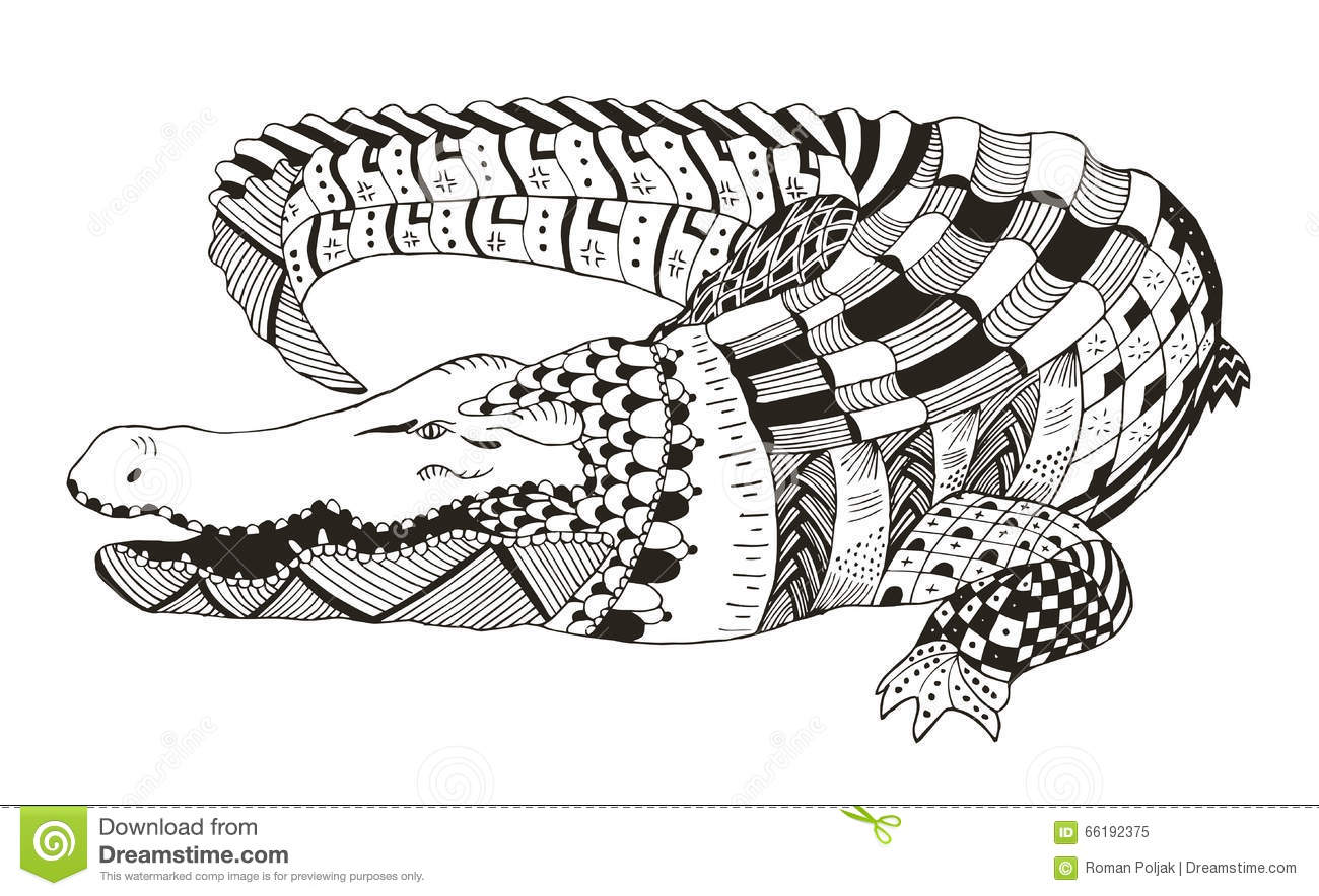 Crocodile Zentangle Stylized Vector Illustration