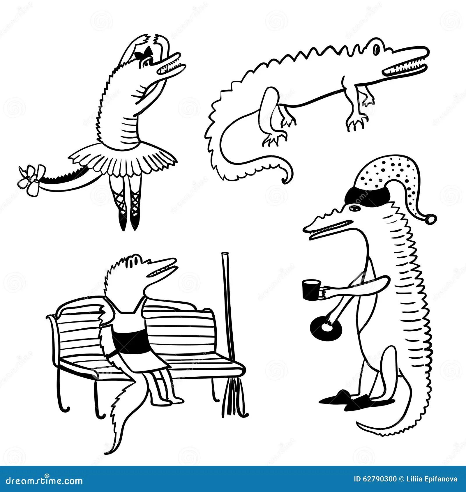 Crocodiles Funny Comic Set Outline Illustration Stock